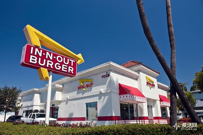 BCPPG4 An In-N-Out Burger restaurant at 7009 West Sunset Blvd. in Los Angeles, California, USA