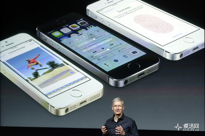 Tim Cook, CEO of Apple, speaks on stage during the introduction of the new iPhone 5s in Cupertino, Calif., Tuesday, Sept. 10, 2013. (AP Photo/Marcio Jose Sanchez)