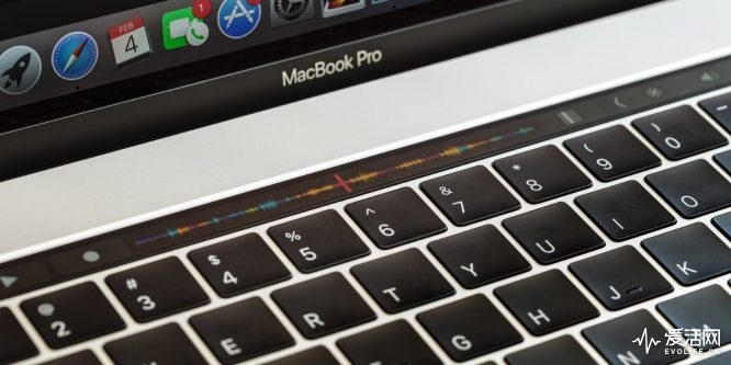 Bangkok, Thailand - April 2, 2017: Close-up touch bar on macbook pro 2016, touch bar is new function on macbook pro 2016 by apple Inc.